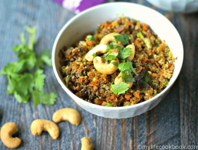Cashew curried vegetable rice is quick and easy and healthy. No actual rice but vegetables made to be rice. A delicious, vegetarian dish in less than 10 minutes and it's low carb too!