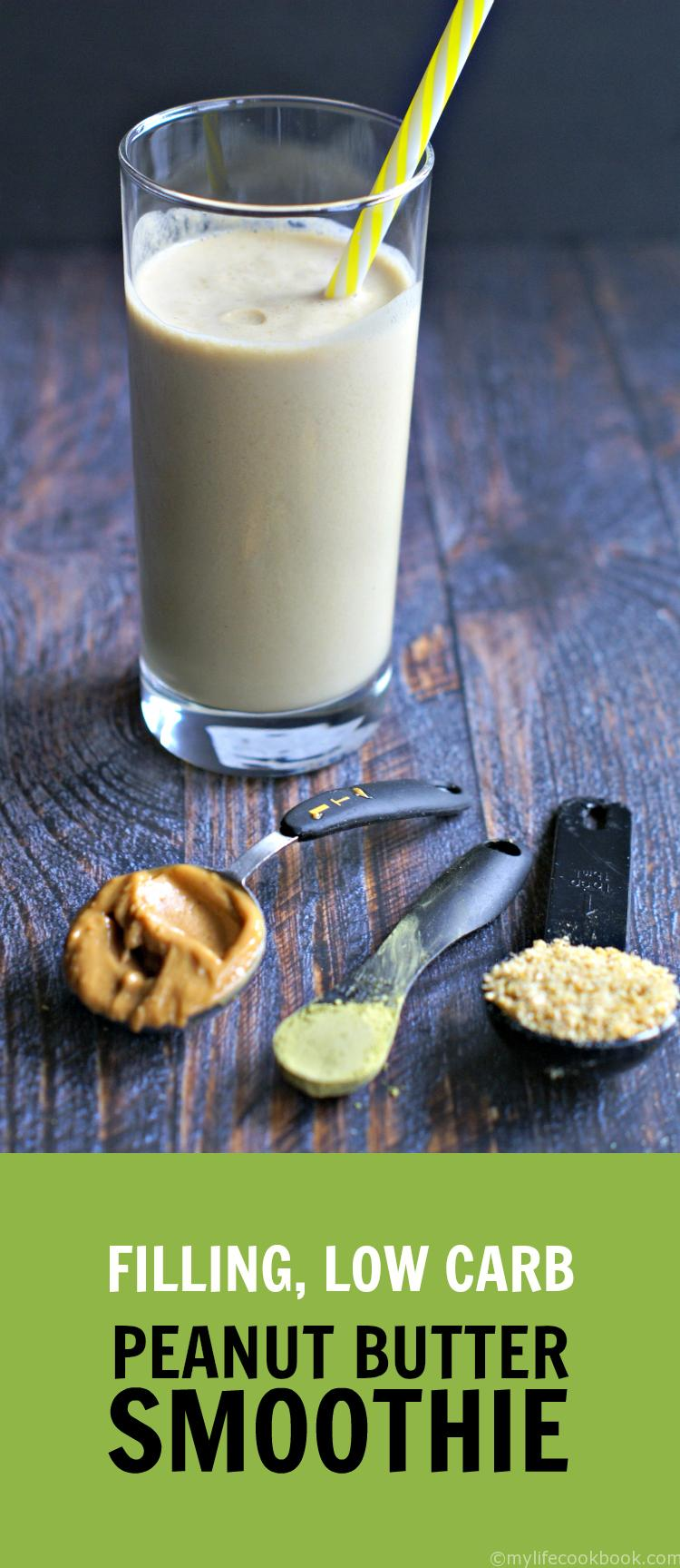 This filling, low carb peanut butter smoothie will get your going in the morning with matcha green tea and keep you satisfied until lunch.