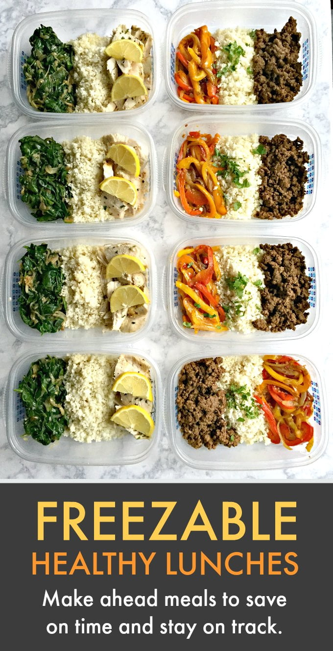 These freezable healthy lunches will help you stay on track and save you time. Two delicious and healthy lunch ideas with recipes.
