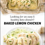 glass baking dish with keto lemon chicken and text overlay