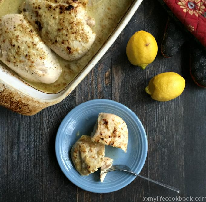 This lemony Greek baked chicken is easy to make. Just marinate the night before and bake the next day. It's full of delicious lemon, oregano and garlic flavors of the Mediterranean.