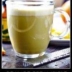 glass mug with keto orange creamsicle protein matcha drink and text