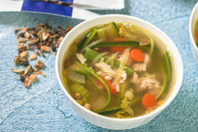 This spicy chicken soup uses a special ingredient - tea! it's FULL of flavor and very easy to make, not to mention low carb and paleo. Perfect for a cold winter day.