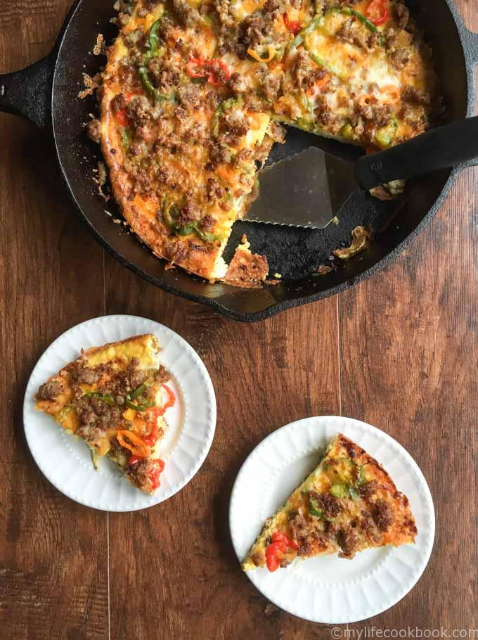 This low carb breakfast pizza would be great for breakfast, lunch or dinner. An easy and tasty meal that is only 2.1g net carbs!