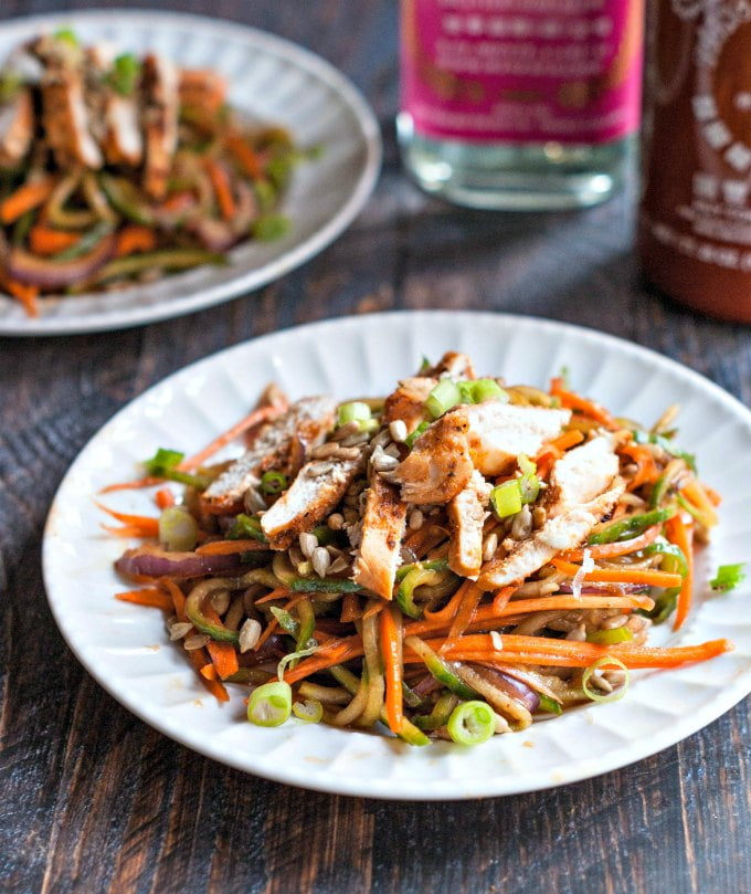 This crunchy,Asian veggie noodle salad is a delicious way to eat your veggies. Top with grilled chicken for a complete meal. Easy and tasty.