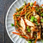 This crunchy Asian veggie noodle salad is a delicious way to eat your veggies. Top with grilled chicken for a complete meal. Easy and tasty.