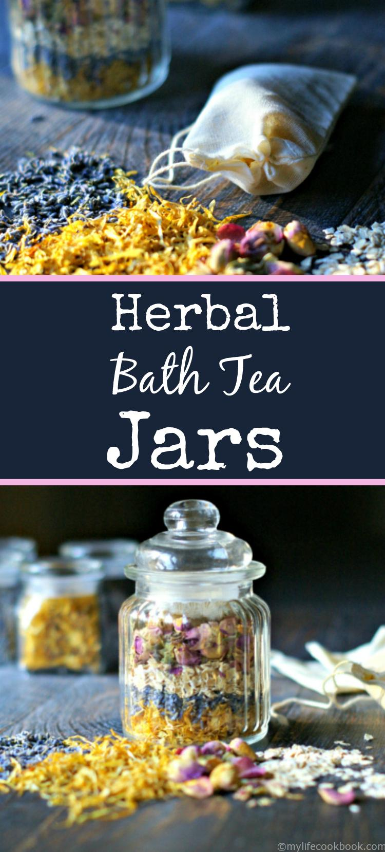 Herbal bath tea jars are both beautiful and useful. Give as a gift or use for yourself as you take a relaxing bath.