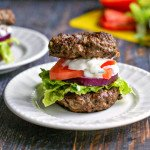 This low carb gyro burger is not only delicious, it's a lot of fun to eat. Skip the pita, have a meat bagel instead.