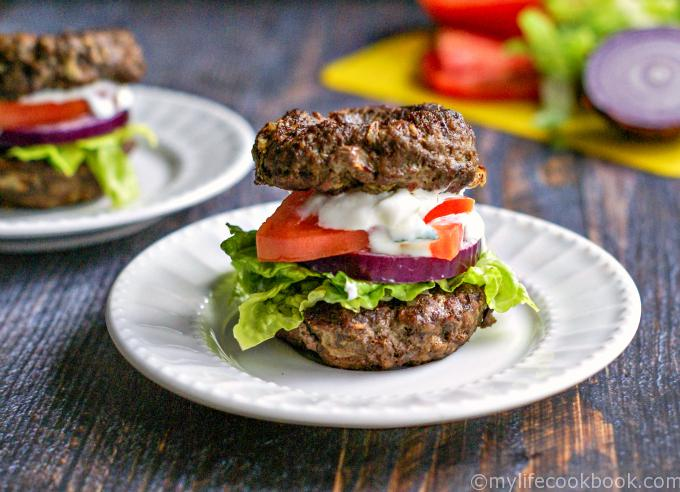 Low Carb Gyro Burger - My Life Cookbook - low carb healthy ...