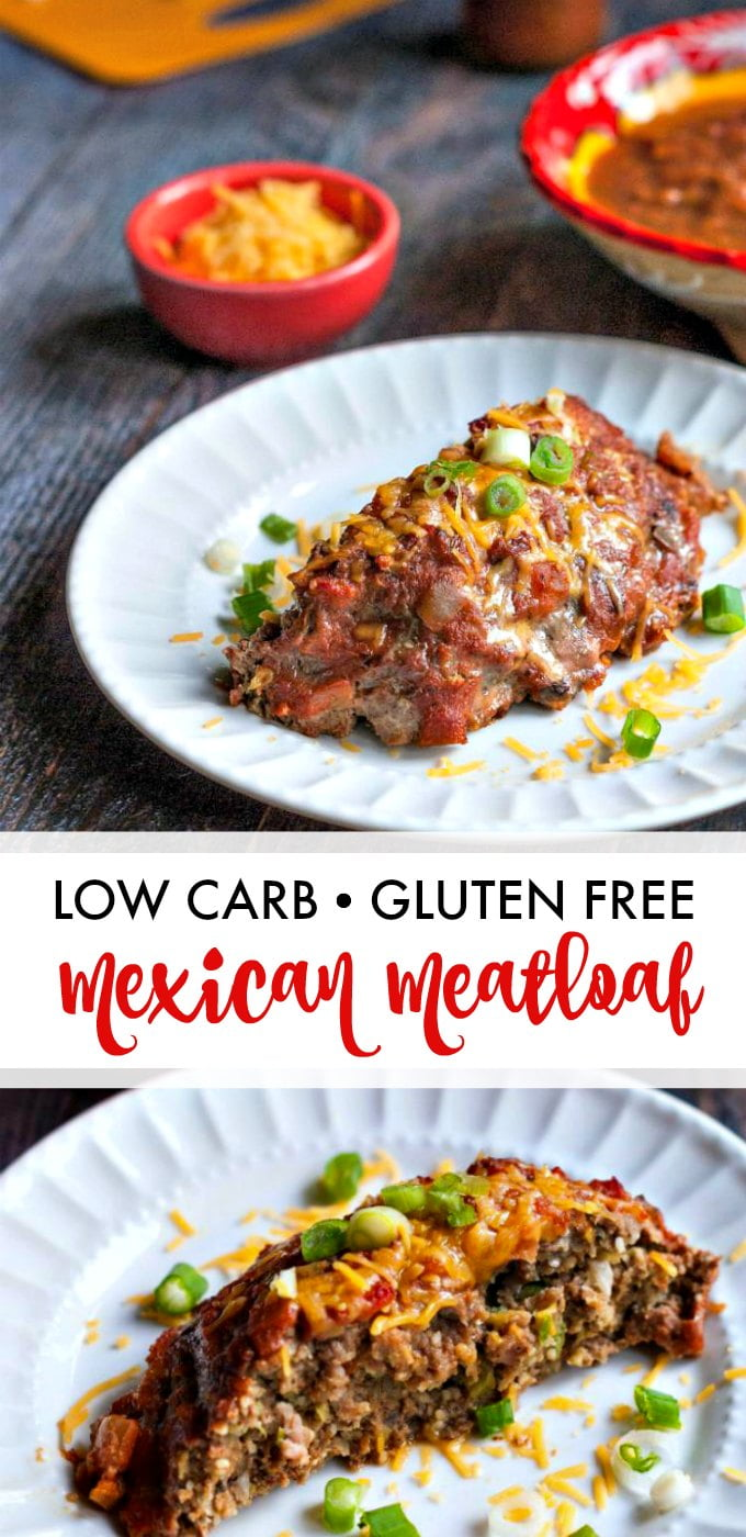 Long photo of a piece of low carb Mexican meatloaf on white plates and a bowl of cheese with text overlay.