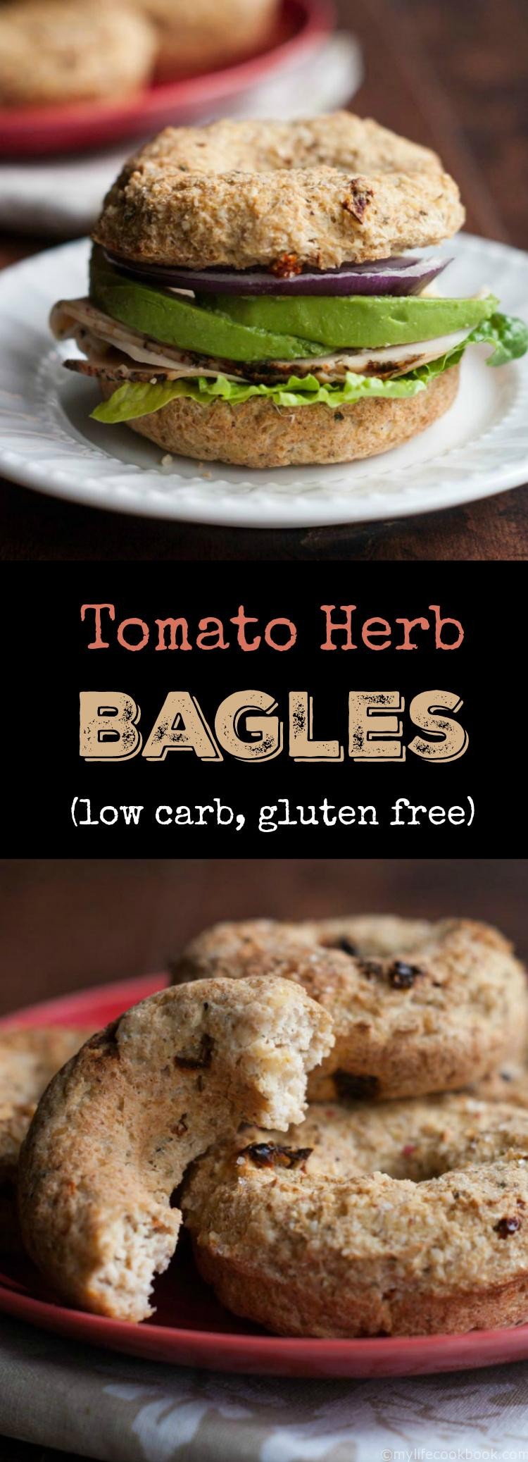 These tomato and herb bagels are low carb, gluten free and full of fiber. Great toasted with cream cheese or as a sandwich and perfect for a low carb diet!