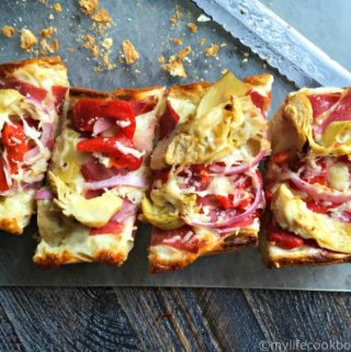 This antipasto french bread pizza can be made in 15 minutes start to finish. An easy, tasty weekday meal or snack for the big game.