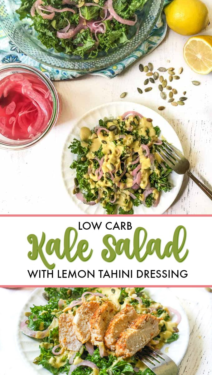 white plate with kale salad and lemon in background with text overlay