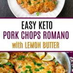 pan and white plate with low carb pork chops Romano with text