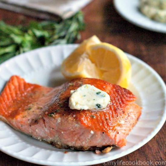 This salmon with lemon herb butter dish is an easy and a tasty fish dinner. The lemon herb butter is very versatile and can be used on steamed veggies too.