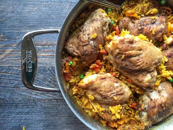 This chicken and Spanish rice dish is a simple one pan meal that the whole family will enjoy. Perfect for leftovers too if there are any!