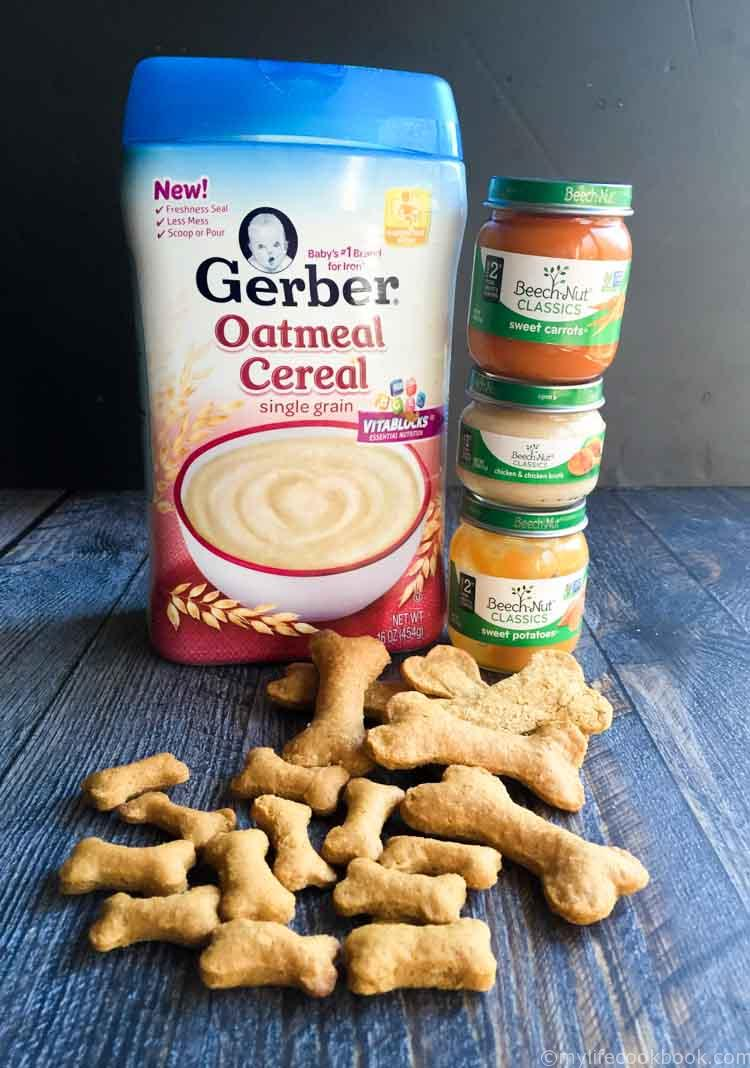 picture of dog biscuits, Gerber oatmeal and baby food