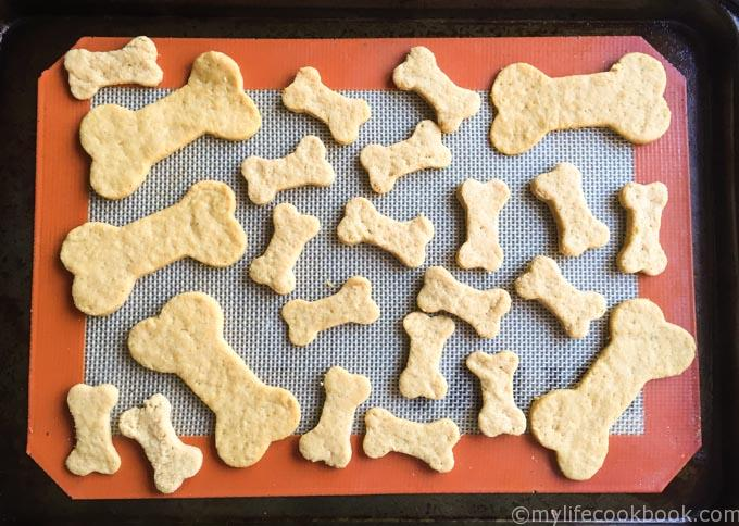 uncooked dog biscuits on silicone mat
