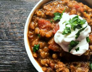 These Mexican spice red lentils is a hearty bowl of spicy comfort. Perfect as a vegetarian chili alternative.