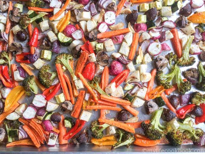 These easy roasted garlic vegetables are easy to make and so versatile. Can be a side dish or tossed with pasta, rice or even added to a salad.