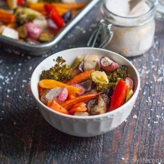 These roasted garlic vegetables are easy to make and so versatile. Can be a side dish or tossed with pasta, rice or even added to a salad.