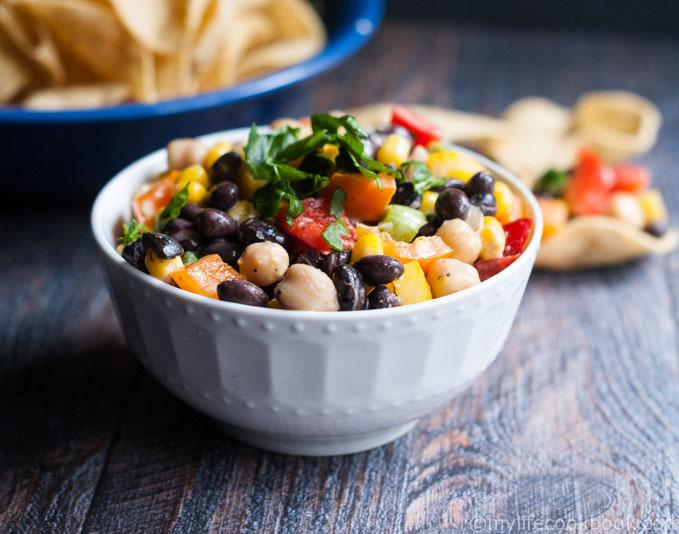 This easy veggie and bean dip is a colorful and tasty dish to make for ...