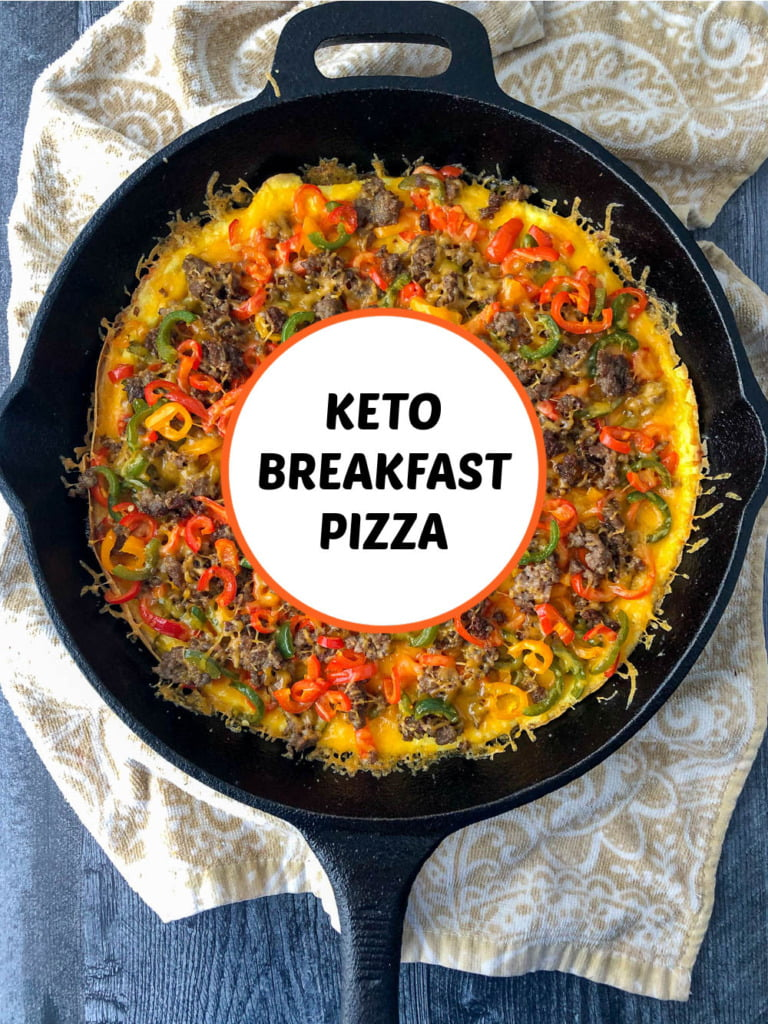 cast iron skillet with keto breakfast pizza and text overlay