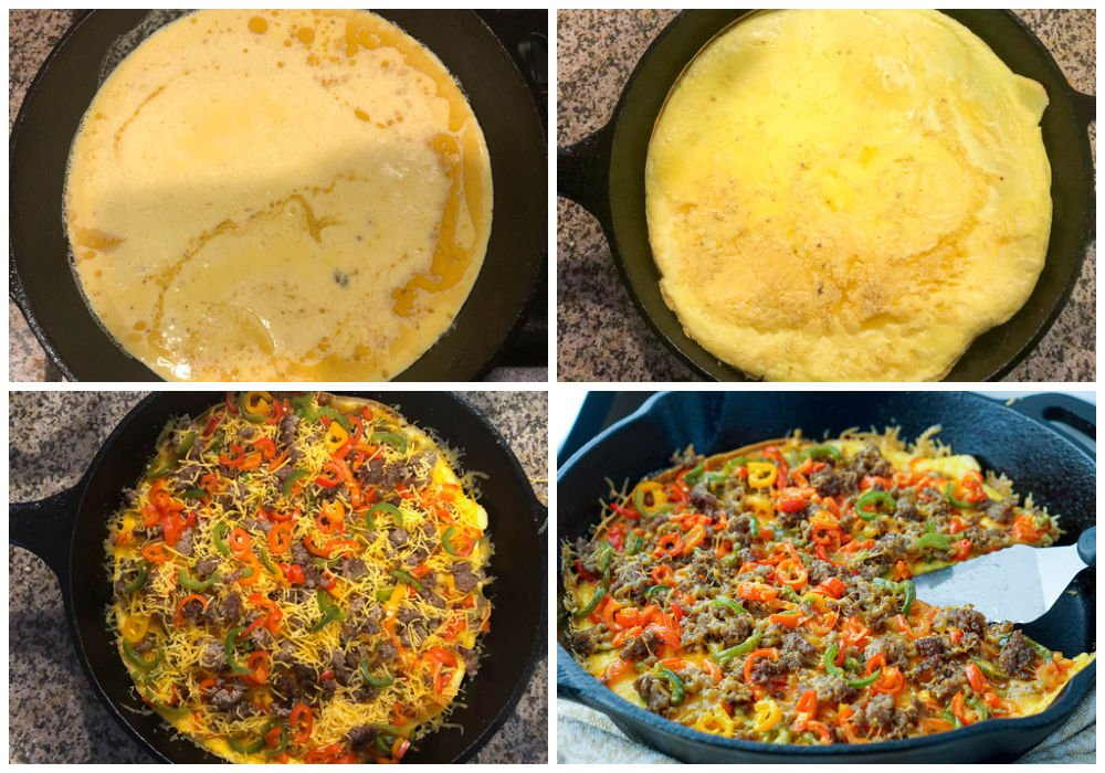 collage of pictures on how to make a gluten free breakfast pizza
