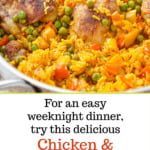 silver pan of Spanish chicken and rice with text overlay