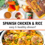 silver pan of Spanish chicken and rice along with the ingredients with text overlay