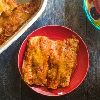 These easy chicken enchiladas are a family favorite. We like to make an extra pan of these and freeze for another night of easy enchiladas!