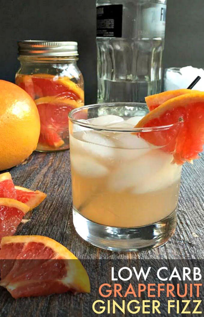 This grapefruit ginger fizz cocktail is a tasty low carb drink for Spring. Fresh grapefruit juice coupled with spicy ginger for a refreshing cocktail. Tastes great with either vodka or gin.