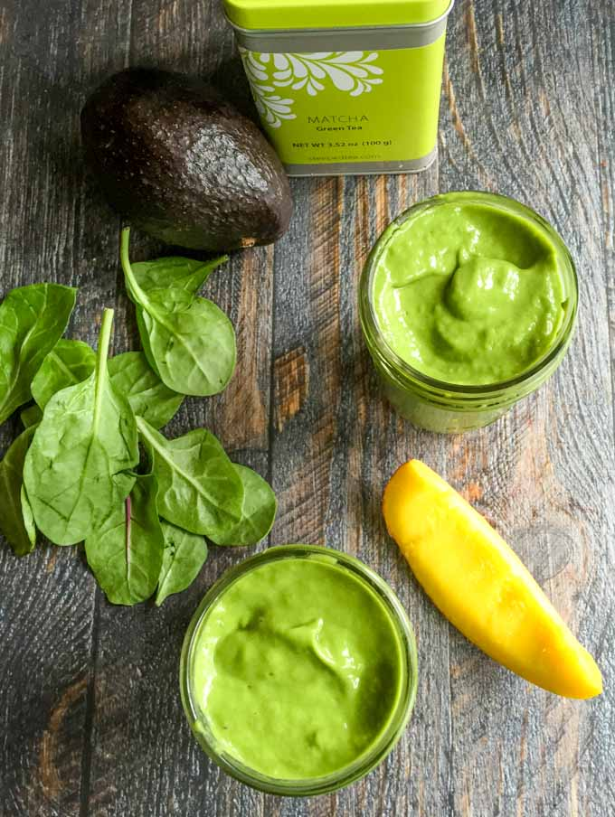 This mango matcha smoothie is thick and delicious and good for your too. Healthy greens and the boost of matcha green tea make this a great breakfast choice.