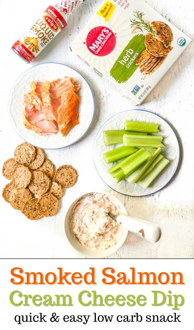 plate of smoked salmon, celery, crackers and bowl of smoked salmon cream cheese dip with text overlay