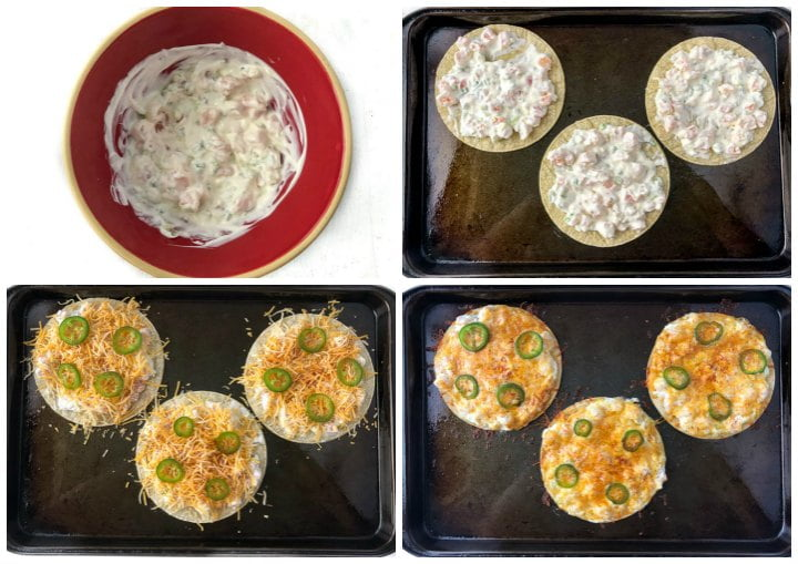 collage of pics showing seafood mixture in a bowl and the stages of making the nachos