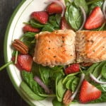A fresh and delicious strawberry salmon salad with the sweet kick of ginger dressing. Easy to make and a healthy lunch or dinner.
