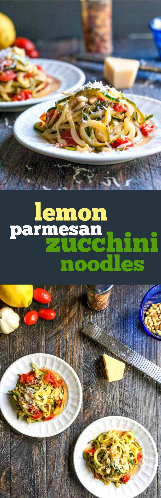 These lemon parmesan zucchini noodles are unbelievably flavorful, healthy and only take 10 minutes to make. Perfect with  veggies from the garden.