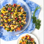 bowl and plate with easy bean salad with text overlay