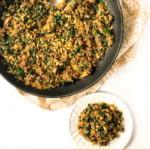black pan with cauliflower chorizo hash and text overlay