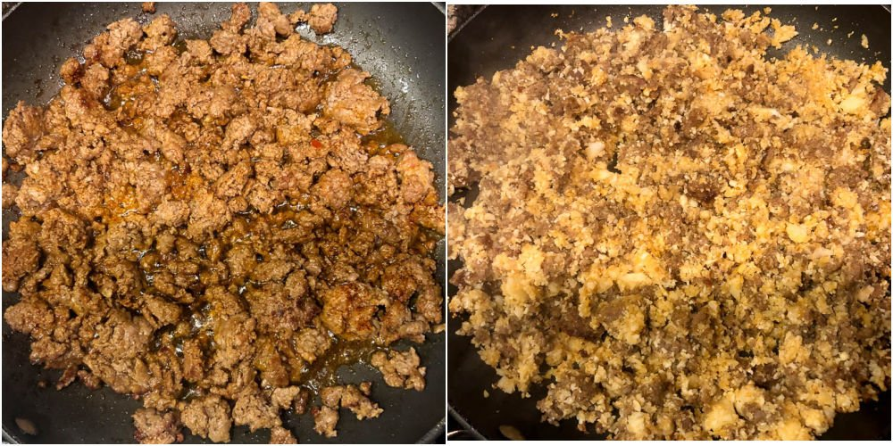 collage of the stages of making this hash