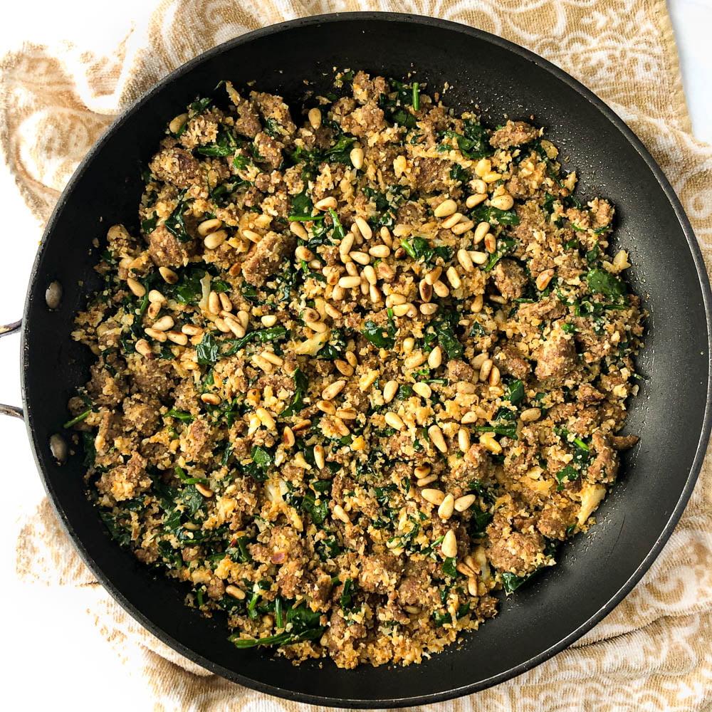 large nonstick pan with keto cauliflower chorizo hash