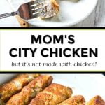 white plate with a piece of city chicken and text overlay
