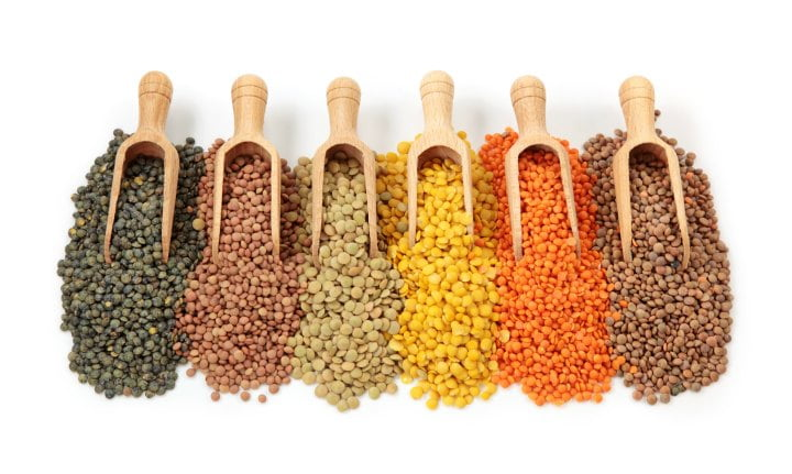 5 different kinds of dry lentils with scoop