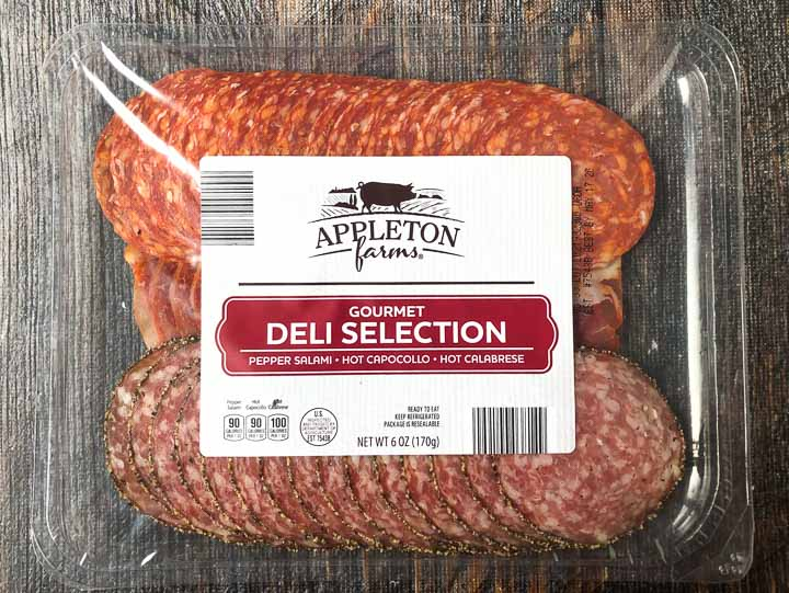 Aldi sliced deli meat tray with salami, cappocollo and Calabrese meats