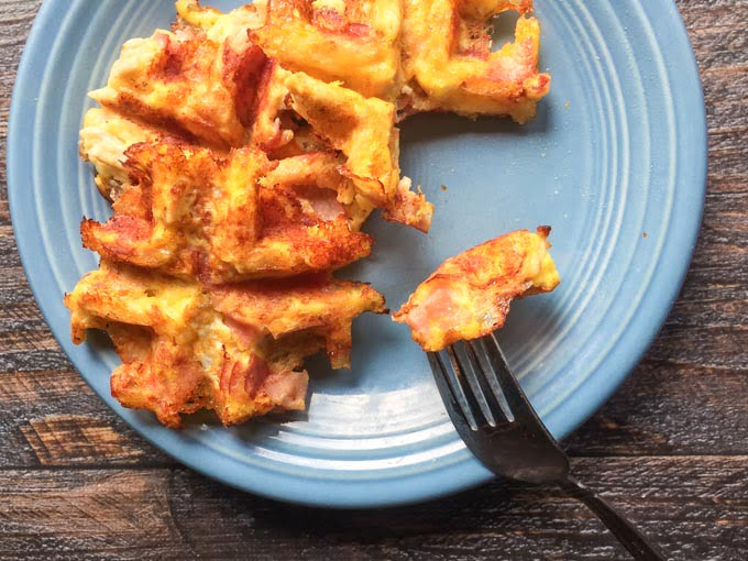 These chicken ham & swiss waffles are low carb and most tasty. Only a few ingredients and a few minutes to make.