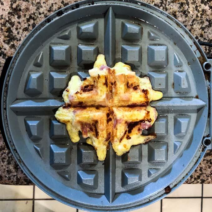 waffle iron with finished chicken waffle