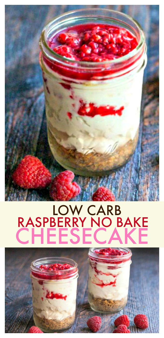 This raspberry no bake cheesecake is a delicious low carb treat that is easy to make and satisfies your cravings for cheesecake. Only 5.8g net carbs per serving.