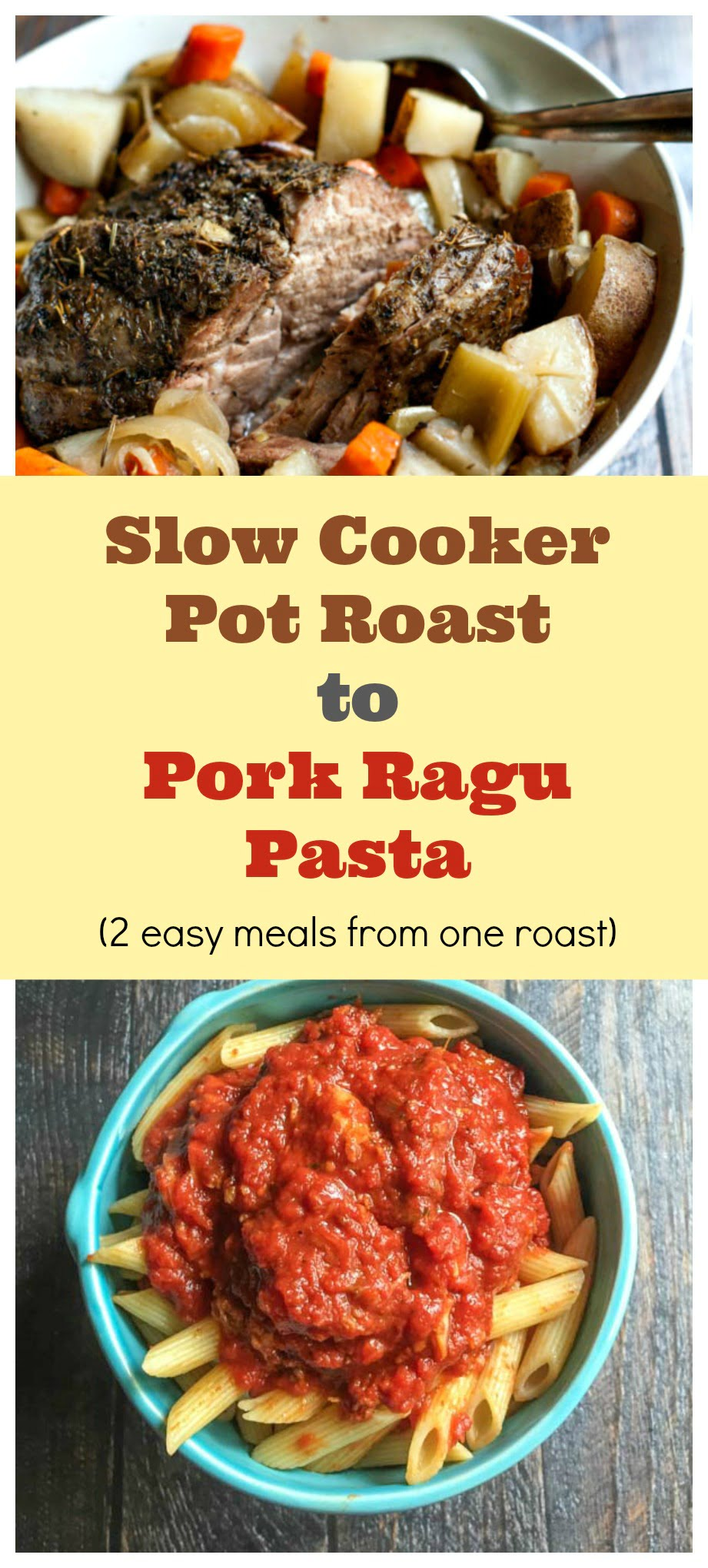 This slow cooker roast to pork ragu recipe gives you two very simple but delicious meals from one pot roast. Make your roast one night and pasta with pork ragu the next.