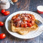 This tomato bacon French toast is a savory change from the usual sweet French toast. A nice and easy dish for breakfast or lunch.