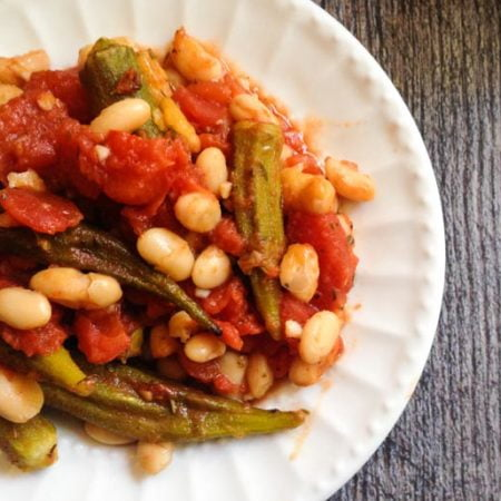 This Italian okra & beans dish makes a hearty and tasty side dish. Serve over rice to make a delicious vegetarian dinner.